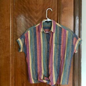 Tie front technicolor dream shirt